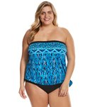 Maxine Plus Size Tattoo Tribal Bandeau Blouson Tankini Top