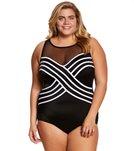 Longitude Plus Size Overlay Mesh High Neck One Piece Swimsuit
