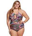 Kenneth Cole Reaction Plus Size Gypsy Gem High Neck One Piece Swimsuit