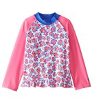 Coolibar Girls' UPF 50+ Ruffle Swim Shirt (6mos-3T)