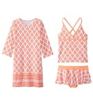 Cabana Life Girls' UPF 50+ Nantucket Sound Swimsuit & Cover Up Set (7-14)
