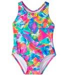 Speedo Girls' Learn To Swim Printed Racerback One Piece Swimsuit (12mos-3T)