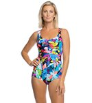 e838432bd1 Maxine Fiesta Chlorine Resistant Shirred Girl Leg One Piece Swimsuit