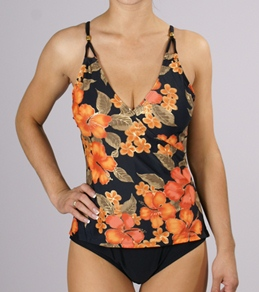 Your Best Look Hibiscus Bouquet Surplice Faux Tankini with matching Pareo