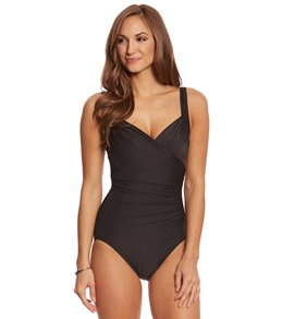 Miraclesuit Black DDD-Cup Oceanus One Piece Swimsuit Size 14DDD