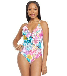 Kenneth Cole REACTION Womens Ready to Ruffle U Neck One Piece Swimsuit