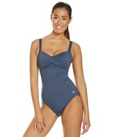 TYR Solid Twisted Bra Chlorine Resistant Controlfit One Piece Swimsuit