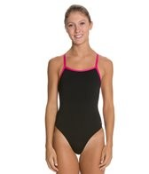 Sporti Polyester Solid Piped Thin Strap Swimsuit