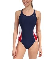 Nike Swim Team Color Block Power Back Tank One Piece Swimsuit