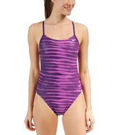 Nike Women's Foil Skin Cut Out Tank One Piece Swimsuit
