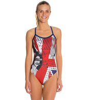 HARDCORESPORT Women's God Save Chlorine X-Back One Piece Swimsuit
