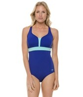 Speedo Color Blocked Cross Back One Piece