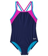Speedo Girls' Crossback Splice One Piece (7yrs-16yrs)