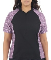 Sheila Moon Women's Plus Size Waffle Short Sleeve Cycling Jersey