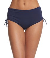 Beach House Solid Adjustable High-Waisted Side Tie Bikini Bottom