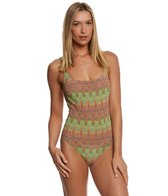 Solar Womens Tan Thru Missoni Gold One Piece Swimsuit