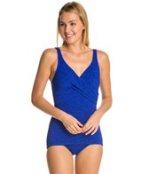 Penbrooke Krinkle Cross Over Sheath Chlorine Resistant One Piece Swimsuit