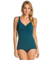 Penbrooke Krinkle Cross Over Sheath One Piece Swimsuit