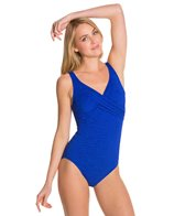 Penbrooke Krinkle Cross Over Mio One Piece Swimsuit