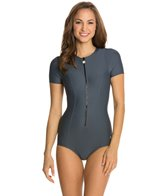 Next Good Karma Solid Malibu Zip S/S One Piece Swimsuit