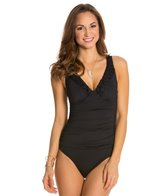 Jantzen Solid V-Neck One Piece Swimsuit