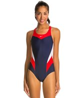 Nike Swim Women's Victory Color Block Power Back Tank One Piece Swimsuit
