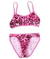 Tidepools Girls' Leopard Contrast Sport Bikini Set (7-14)