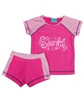 Jump N Splash Girls' Sparkle S/S Rashguard Set w/FREE Goggles (4-12)