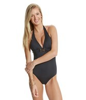 Tommy Bahama Pearl Solid Halter V Neck One Piece Swimsuit
