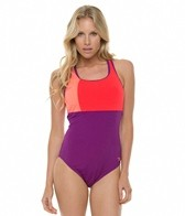 Speedo Color Block Thick Strap One Piece Swimsuit
