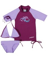 SunBusters Girls' Ruched S/S Rashguard Set (6mos-12yrs)