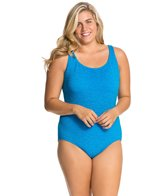 Penbrooke Krinkle Plus Size Cross Back Mio One Piece Swimsuit