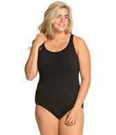 Penbrooke Krinkle Plus Size Cross Back Chlorine Resistant One Piece Swimsuit