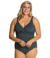 Penbrooke Krinkle Plus Size Cross Over Mio One Piece Swimsuit