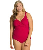 Penbrooke Krinkle Plus Size Cross Over Mio Chlorine Resistant One Piece Swimsuit