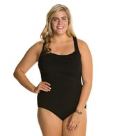 Penbrooke Krinkle Plus Size D-Cup Active Back One Piece Swimsuit