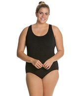 Penbrooke Krinkle Plus Size Cross Back Chlorine Resistant One Piece (D-Cup)