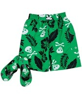Jump N Splash Boys' Skull/Palm Swim Trunk w/ FREE Flipflops (4-14)