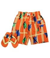 Jump N Splash Boys' Skater Swim Trunk w/ FREE Flipflops (4-14)