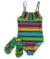 Jump N Splash Girls' Stripe One Piece w/ FREE Flipflops (4-12)