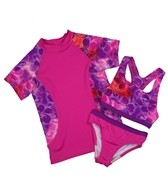 Speedo Girls' Jungle Rhythm Rashguard Three Piece Set (7-16)