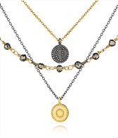 Satya Jewelry Gunmetal and Gold Pyrite Celestial Great Heights Triple Strand Necklace