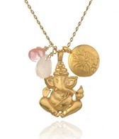 Satya Jewelry Rose and Cherry Quartz Ganesha Lotus Necklace