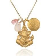 Satya Jewelry Rose and Cherry Quartz Ganesha Lotus Necklace
