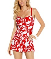 Jantzen Pop Floral Shirred Flounce Swim Dress