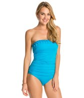 Jantzen Solid Pin Tucked Bandeau One Piece Swimsuit
