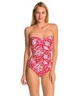 Jag South Pacific Shirred Bandeau One Piece Swimsuit