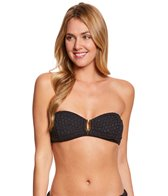 Sunsets Nautical Net Black Shirred Bandeau Bikini Top