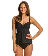 Swim Systems Onyx Shirred Underwire D/DD Cup Tankini Top