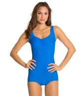 Maxine Shirred Front Nylon Girl Leg One Piece Swimsuit